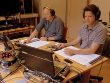 Ingo Petry (recording producer) and Hans Kipfer (sound engineer) recording Respighi (BIS-2130) in Liège